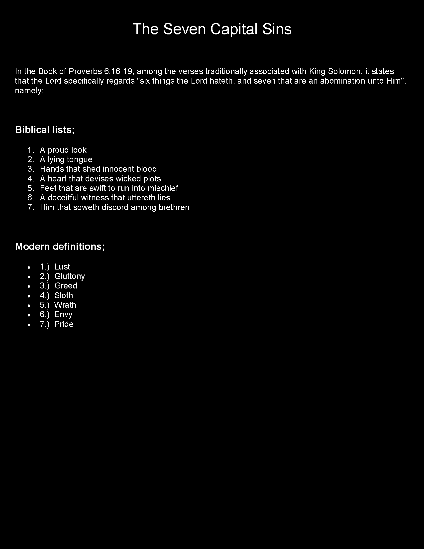 The Seven Capitol Sins